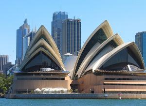Sydney Opera House and skyscrapers, in Sydney, New South Wales, Australia - екскурзии, екскурзия, хотели, туристическа агенция, почивка, оферти, ски, зимни курорти, летни курорти